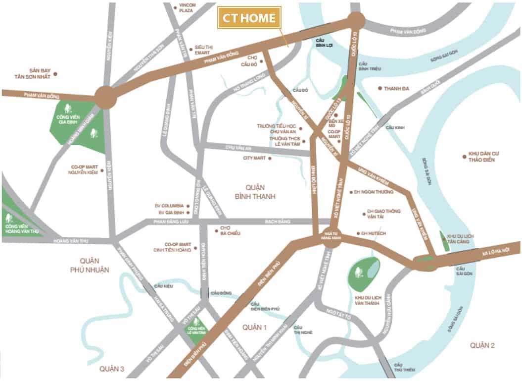 vị trí căn hộ CT Home Bình Thạnh